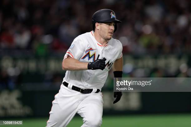 Catcher JT Realmuto of the Miami Marlins hits a double in the bottom of 7th inning during the game two of the Japan and MLB All Stars at Tokyo Dome...