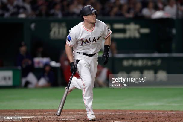 Catcher JT Realmuto of the Miami Marlins hits a threerun home run in the bottom of 8th inning during the game two of the Japan and MLB All Stars at...