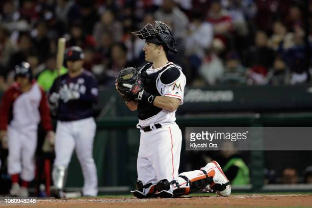 Catcher JT Realmuto of the Miami Marlins is seen in the top of 2nd inning during the game four between Japan and MLB All Stars at Mazda Zoom Zoom...