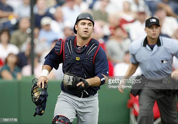 Catcher Kelly Shoppach of the Cleveland Indians moves for the ball against the Philadelphia Phillies during a Spring Training game at Bright House...