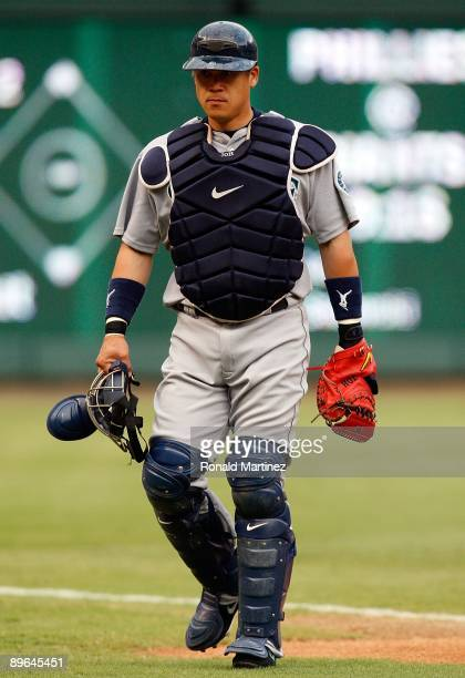 Catcher Kenji Johjima of the Seattle Mariners on July 31 2009 at Rangers Ballpark in Arlington Texas