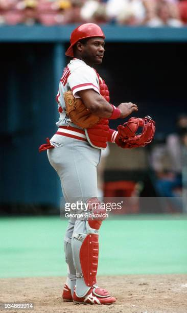 Catcher Lloyd McClendon of the Cincinnati Reds looks on from the field during a game against the Pittsburgh Pirates at Three Rivers Stadium in 1987...