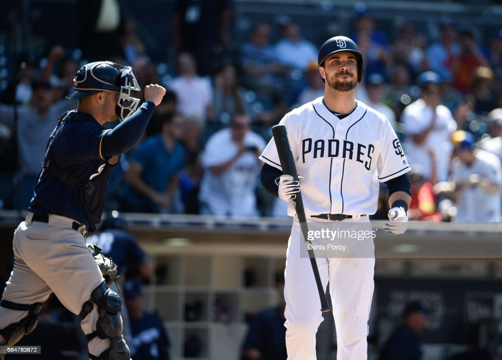 Catcher Manny Pina #9 of the Milwaukee Brewers pumps his fist as Austin Hedges #18 of the San Diego Padres strikes out for the final out during the ninth inning of a baseball game at PETCO Park on May 18, 2017 in San Diego, California. The Brewers won 4-2.