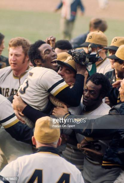 Catcher Manny Sanguillen of the Pittsburgh Pirates leads the celebreation after the Pirates defeated the Baltimore Orioles 21 after Game 7 of the...