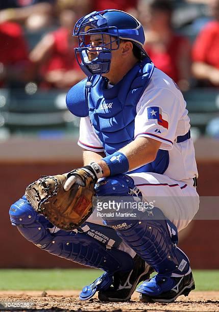 Catcher Matt Treanor of the Texas Rangers at Rangers Ballpark in Arlington on September 29 2010 in Arlington Texas