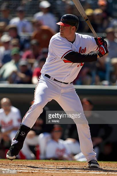 Catcher Matt Wieters of the Baltimore Orioles bats against the Boston Red Sox during a Grapefruit League Spring Training Game at Ed Smith Stadium on...