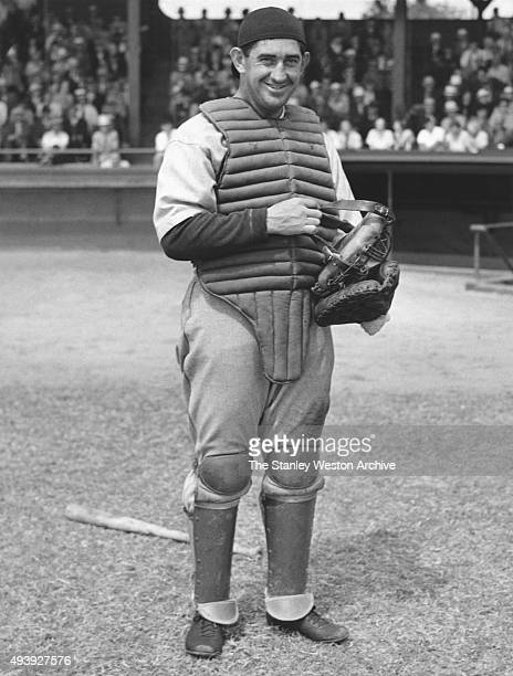 Catcher Mickey Cochrane of the Philadelphia Athletics poses for a portrait before an MLB game circa 1927