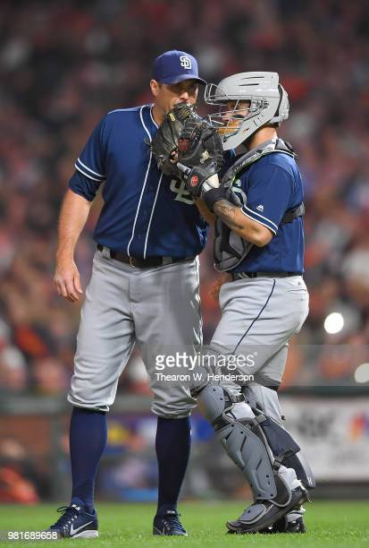 Catcher Raffy Lopez of the San Diego Padres comes out to the mound to have a conversation with pitcher Craig Stammen against the San Francisco Giants...