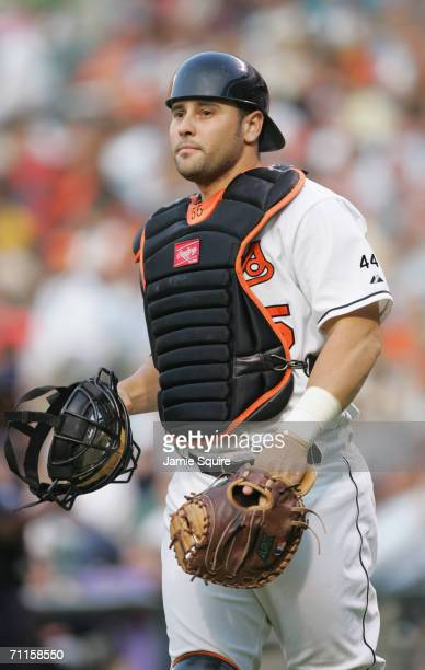 Catcher Ramon Hernandez of the Baltimore Orioles jogs to the mound during the game against the Toronto Blue Jays on June 6, 2006 at Camden Yards in...