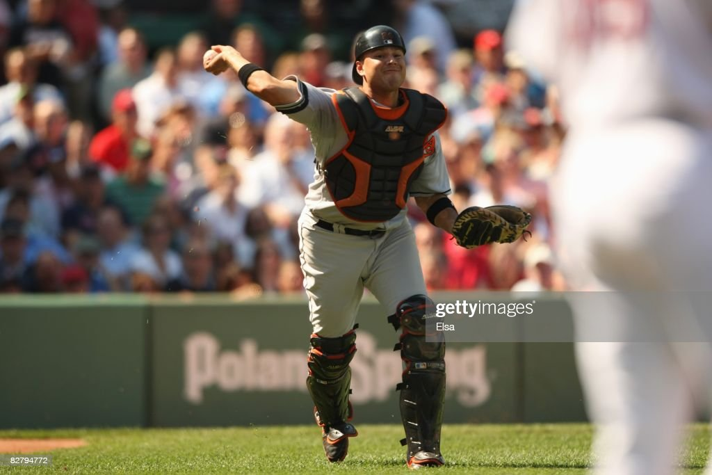 Catcher Ramon Hernandez #55 of the Baltimore Orioles makes a throw against the Boston Red Sox during the MLB game on September 3, 2008 at Fenway Park in Boston, Massachusetts.