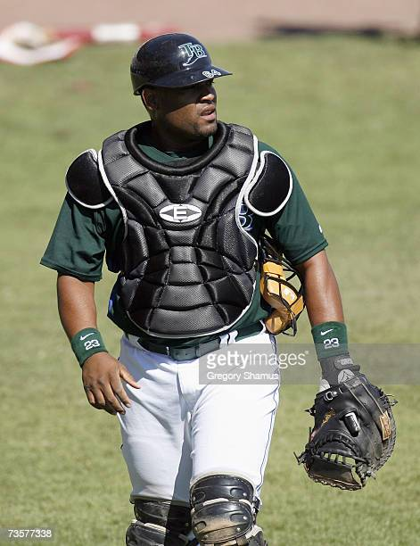 Catcher Raul Casanova of the Tampa Bay Devil Rays walks on the field during a spring training game against the Cincinnati Reds March 6, 2007 at...