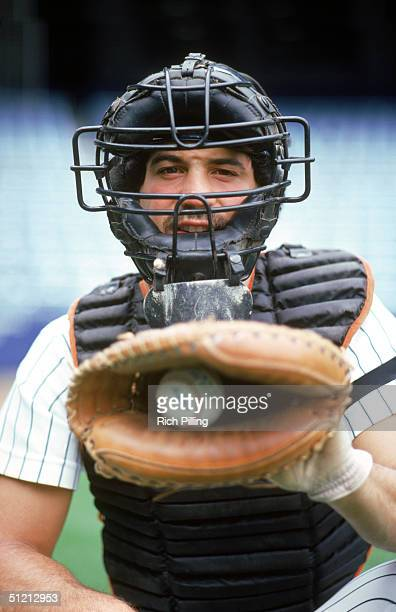 Catcher Rick Cerone of the New York Yankees poses for an action portriat Rick Cerone played for the New York Yankees from 19801984 1987 and again in...