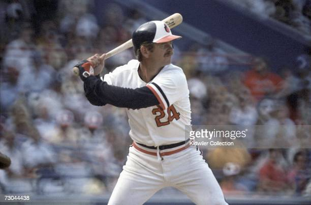 Catcher Rick Dempsey of the Baltimore Orioles at bat during a game in 1983 against the New York Yankees at Memorial Stadium in Baltimore Maryland