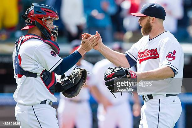 Catcher Roberto Perez celebrates with closing pitcher Cody Allen of the Cleveland Indians celebrate after the Indians defeated the Chicago White Sox...