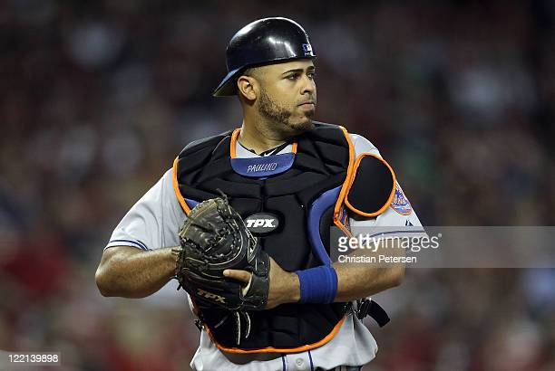 Catcher Ronny Paulino of the New York Mets during the Major League Baseball game against the Arizona Diamondbacks at Chase Field on August 13 2011 in...