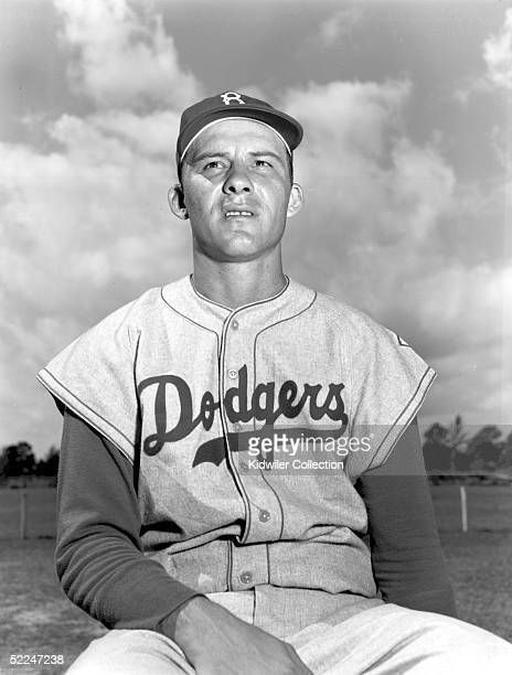 Catcher Rube Walker of the Brooklyn Dodgers poses for a portrait during Spring Training in March 1951 in Vero Beach Florida