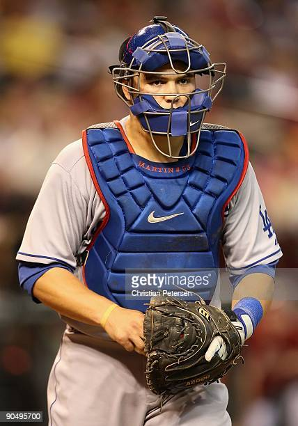 Catcher Russell Martin of the Los Angeles Dodgers during the major league baseball game against the Arizona Diamondbacks at Chase Field on September...