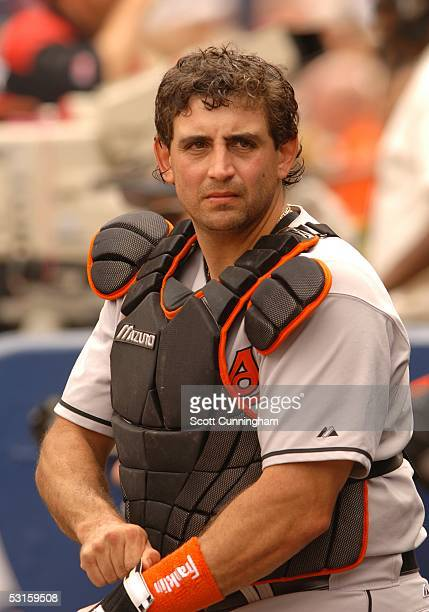 Catcher Sal Fasano of the Baltimore Orioles prepares to play against the Atlanta Braves at Turner Field on June 25 2005 in Atlanta Georgia The Braves...