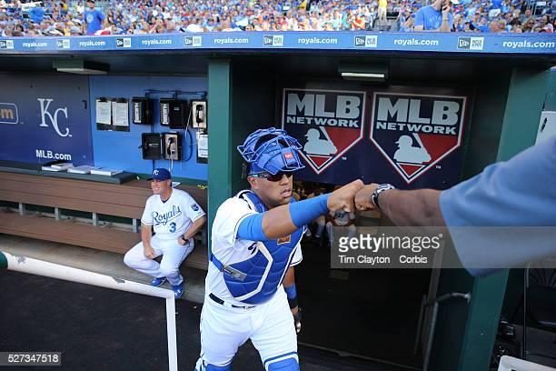 Catcher Salvador Perez Kansas City Royals leaving the dugout during the Kansas City Royals Vs Chicago White Sox Kauffman Stadium Kansas Missouri USA...