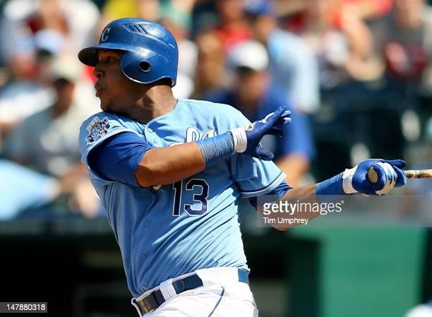 Catcher Salvador Perez of the Kansas City Royals bats against the St Louis Cardinals on June 24 2012 in Kansas City Missouri The Cardinals defeated...