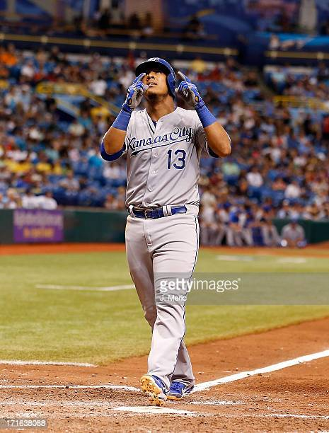 Catcher Salvador Perez of the Kansas City Royals celebrates his home run against the Tampa Bay Rays during the game at Tropicana Field on June 15...