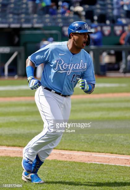 Catcher Salvador Perez of the Kansas City Royals celebrates while trotting up the first base line after hitting a home run during the bottom of the...