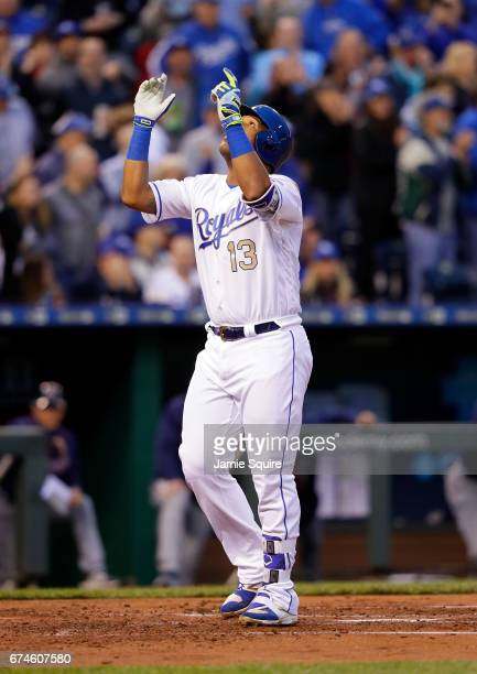 Catcher Salvador Perez of the Kansas City Royals crosses home plate after hitting a 2run home run during the 2nd inning of the game against the...