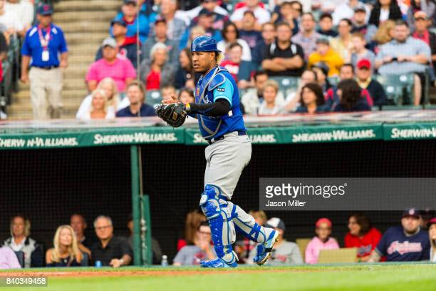 Catcher Salvador Perez of the Kansas City Royals during the first inning against the Cleveland Indians at Progressive Field on August 26 2017 in...