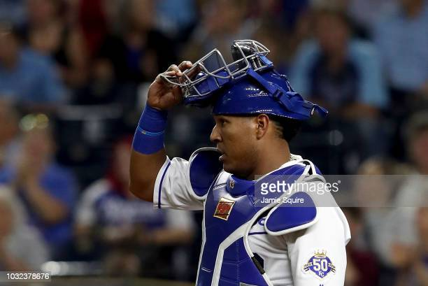 Catcher Salvador Perez of the Kansas City Royals in action during the game against the Chicago White Sox at Kauffman Stadium on September 12 2018 in...