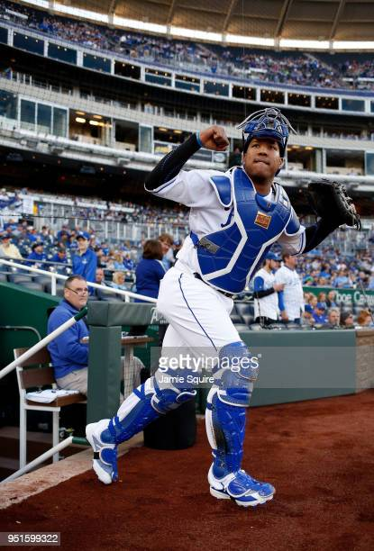 Catcher Salvador Perez of the Kansas City Royals takes the field prior to the start of the game against the Chicago White Sox at Kauffman Stadium on...