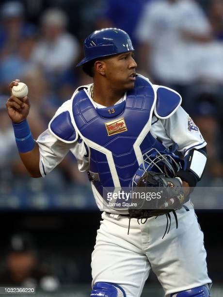 Catcher Salvador Perez of the Kansas City Royals throws back tot he pitcher during the game against the Chicago White Sox at Kauffman Stadium on...