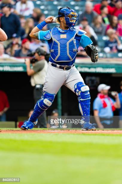 Catcher Salvador Perez of the Kansas City Royals warms up prior to the bottom of the first inning against the Cleveland Indians at Progressive Field...