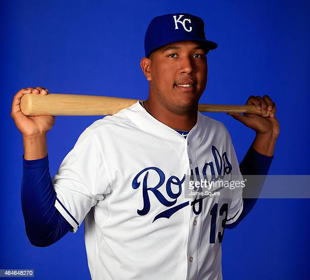 Catcher Salvador Perez poses during Kansas City Royals Photo Day on February 27 2015 in Surprise Arizona