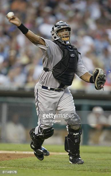 Catcher Sandy Alomar#15 of the Chicago White Sox throws during the game against the Detroit Tigers on July 31 2004 in Detroit Michigan The Tigers won...