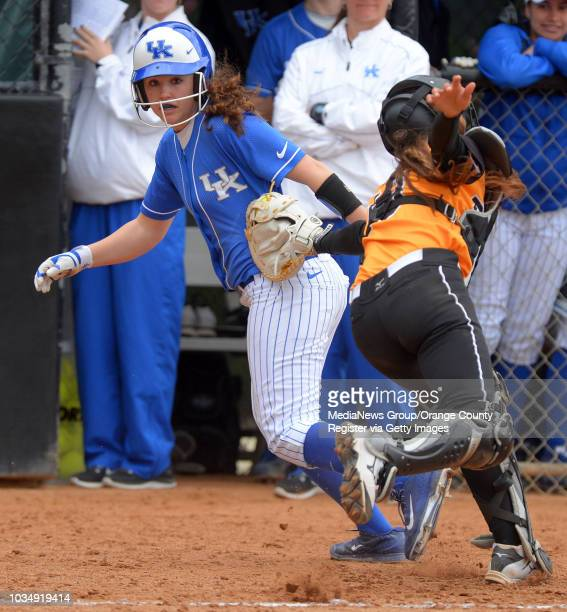 LBSU catcher Sarah Carrasco tags Kentucky's Maisie Steed out at CSULB on Thursday February 6 2014 LBSU lost their season opening to Kentucky 100 in...