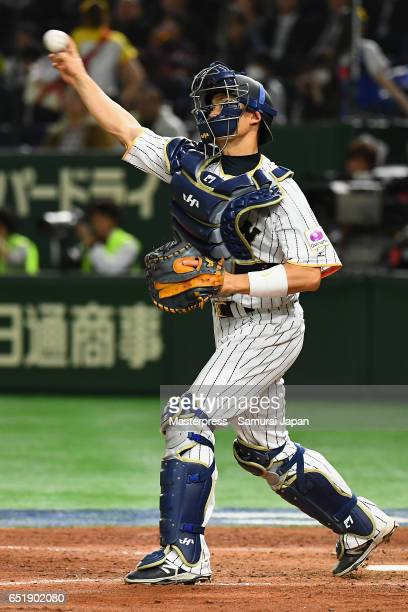 Catcher Shota Ohno of Japan in action during the World Baseball Classic Pool B Game Six between China and Japan at Tokyo Dome on March 10 2017 in...