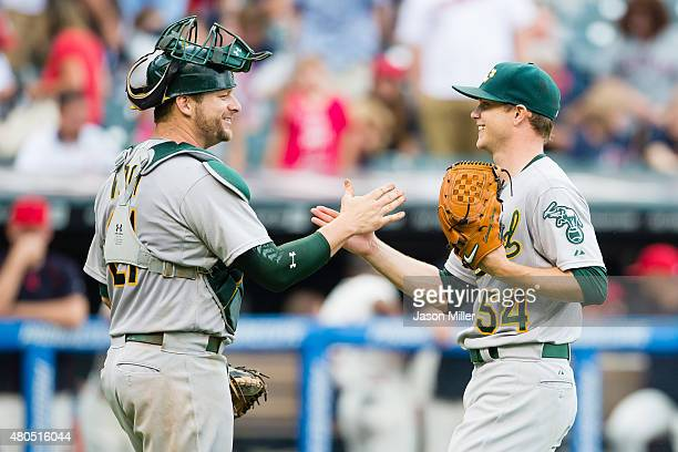 Catcher Stephen Vogt celebrates with starting pitcher Sonny Gray of the Oakland Athletics after a win over the Cleveland Indians at Progressive Field...
