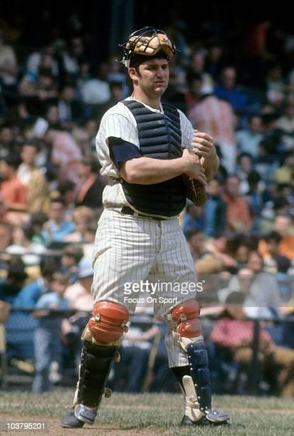 Catcher Thurman Munson of the New York Yankees looks on during a MLB baseball game circa 1970 at Yankee Stadium in the Bronx borough of New York...