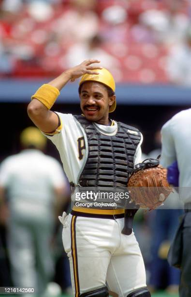 Catcher Tony Pena of the Pittsburgh Pirates smiles as he looks on from the field before the start of a Major League Baseball game at Three Rivers...
