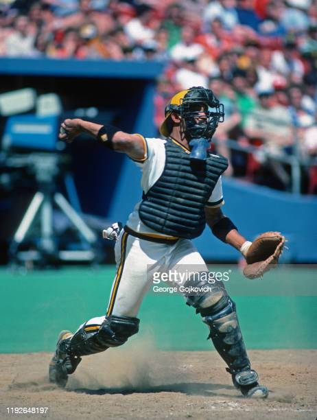 Catcher Tony Pena of the Pittsburgh Pirates throws to second base in an attempt to prevent a stolen base during a Major League Baseball game at Three...