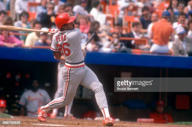 Catcher Tony Pena of the St. Louis Cardinals swings at the pitch during an MLB game against the New York Mets circa April, 1989 at Shea Stadium in...