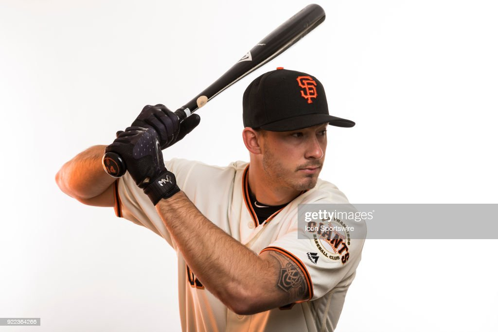 Catcher Trevor Brown (14) poses for a photo during the San Francisco Giants photo day on Tuesday, Feb. 20, 2018 at Scottsdale Stadium in Scottsdale, Ariz.