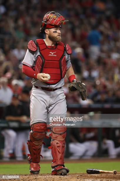 Catcher Tucker Barnhart of the Cincinnati Reds during the MLB game against the Arizona Diamondbacks at Chase Field on July 9 2017 in Phoenix Arizona...