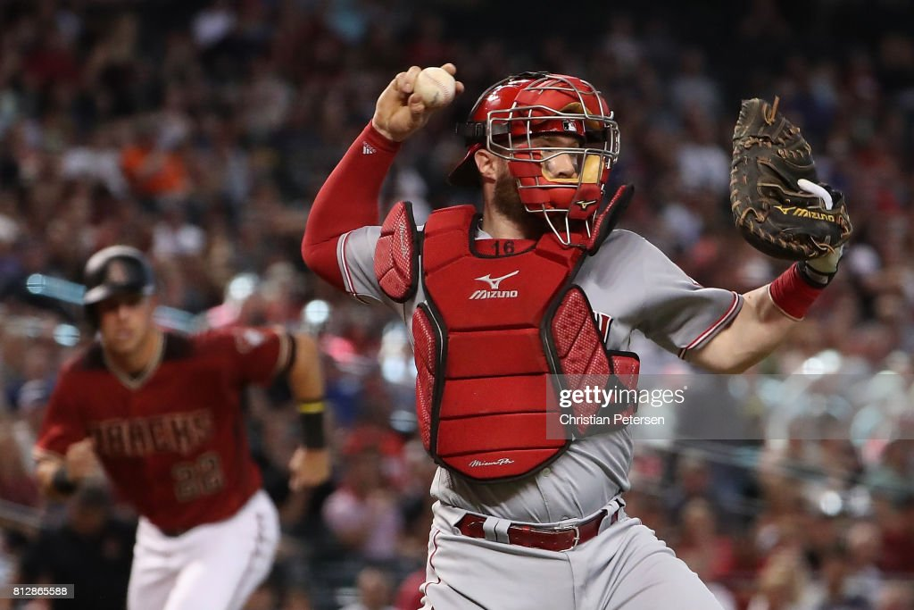 Catcher Tucker Barnhart #16 of the Cincinnati Reds in action during the MLB game against the Arizona Diamondbacks at Chase Field on July 9, 2017 in Phoenix, Arizona. The Reds defeated the Diamondbacks 2-1.