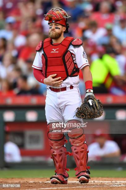 Catcher Tucker Barnhart of the Cincinnati Reds watches the play in the outfield during a game against the San Diego Padres at Great American Ball...