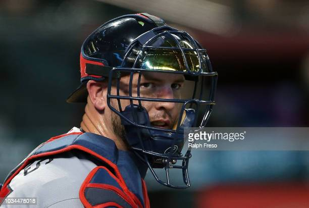 Catcher Tyler Flowers of the Atlanta Braves looks to the dugout during the third inning of an MLB game against the Arizona Diamondbacks at Chase...