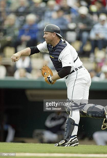 Catcher Vance Wilson of the Detroit Tigers throws the ball to second during a Spring Training game against the Cleveland Indians on March 32007 at...
