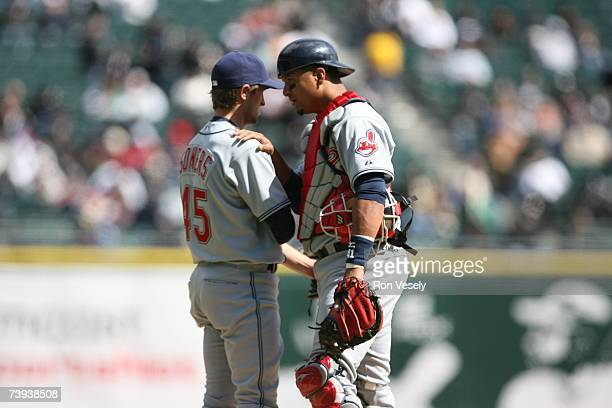 Catcher Victor Martinez and pitcher Jeremy Sowers of the Cleveland Indians talk on the mound during the game against the Chicago White Sox at U.S....