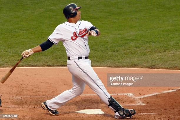 Catcher Victor Martinez hits a flyball to centerfield during the Cleveland Indians game versus the Tampa Bay Devil Rays on Monday, July 2, 2007 at...