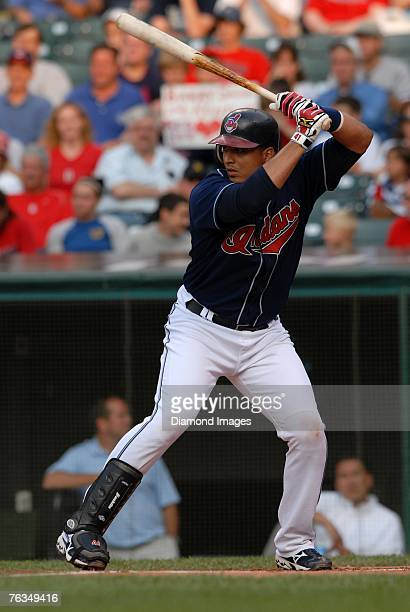 Catcher Victor Martinez of the Cleveland Indians bats during a game versus the Boston Red Sox on Tuesday, July 24, 2007 at Jacobs Field in Cleveland,...